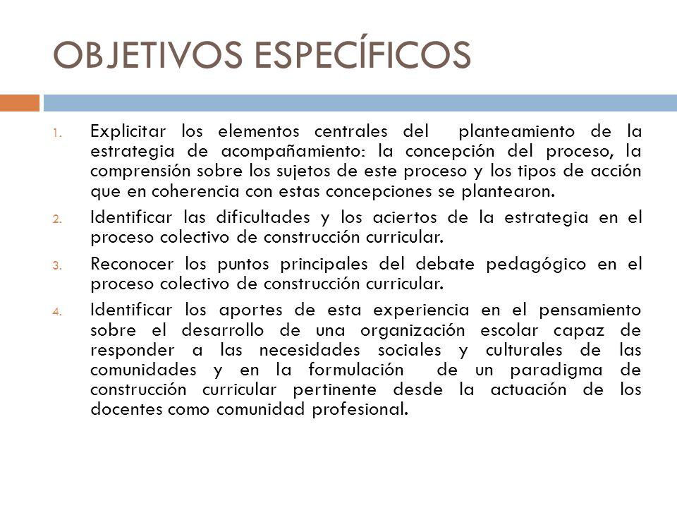 OBJETIVOS ESPECÍFICOS 1. Explicitar los elementos centrales del planteamiento de la estrategia de acompañamiento: la concepción del proceso, la compre