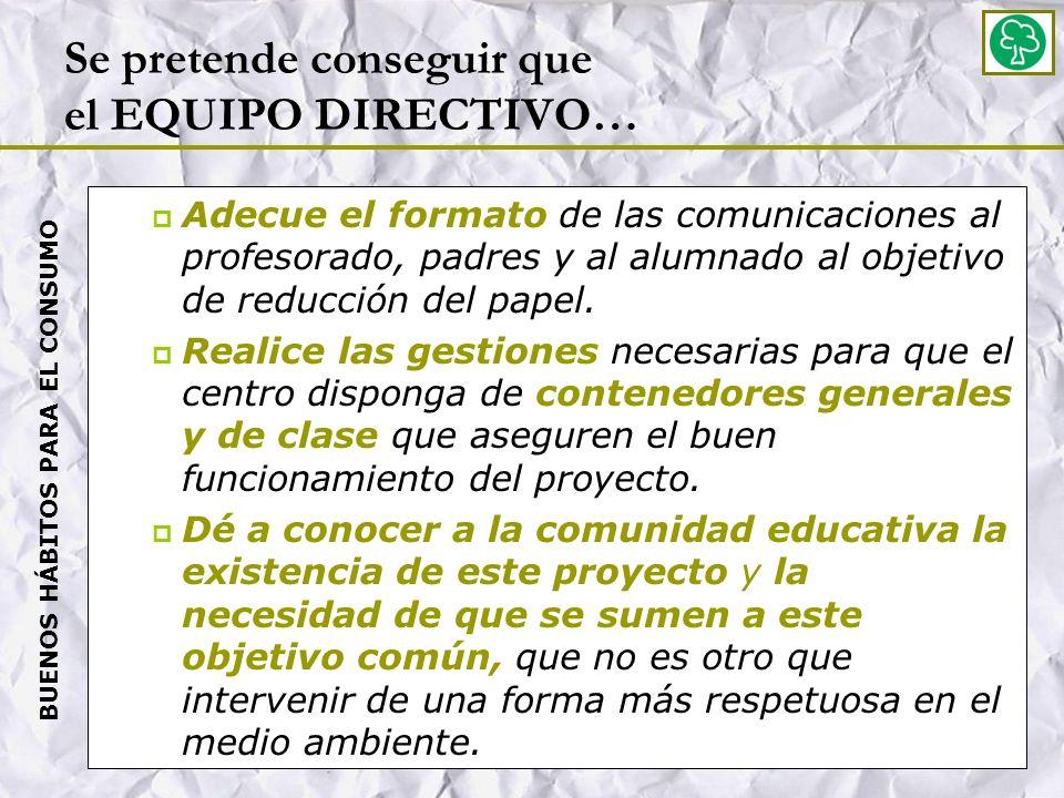 Se pretende conseguir que el EQUIPO DIRECTIVO… Adecue el formato de las comunicaciones al profesorado, padres y al alumnado al objetivo de reducción del papel.