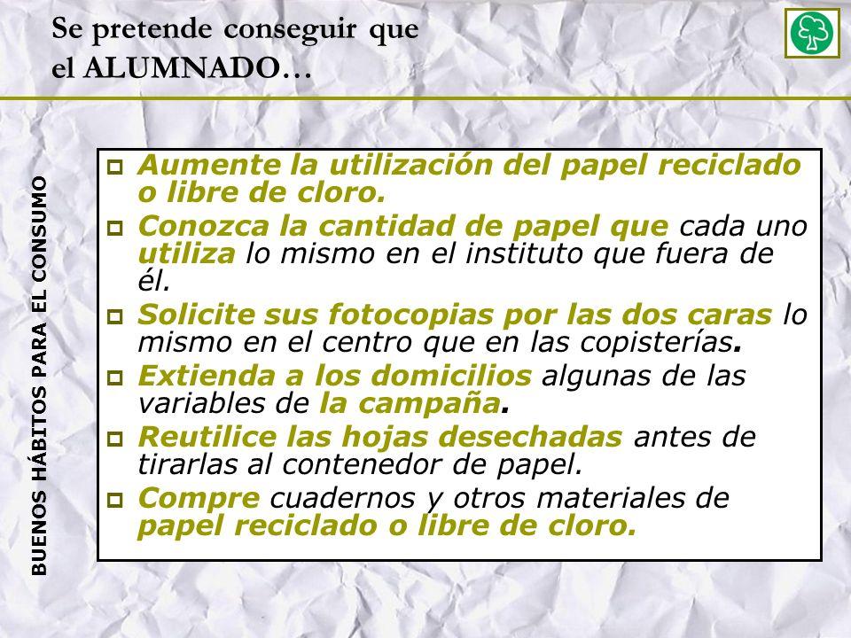 Se pretende conseguir que el ALUMNADO… Aumente la utilización del papel reciclado o libre de cloro.