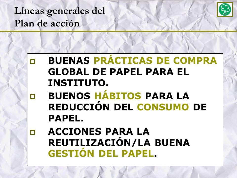 En cuanto a la compra…acciones concretas: Intentar una reducción significativa del papel que se compra sin rebajar los niveles de calidad en la prestación.