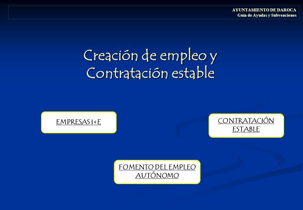 Creación de empleo y Contratación estable AYUNTAMIENTO DE DAROCA Guía de Ayudas y Subvenciones EMPRESAS I+E FOMENTO DEL EMPLEO AUTÓNOMO CONTRATACIÓN ESTABLE