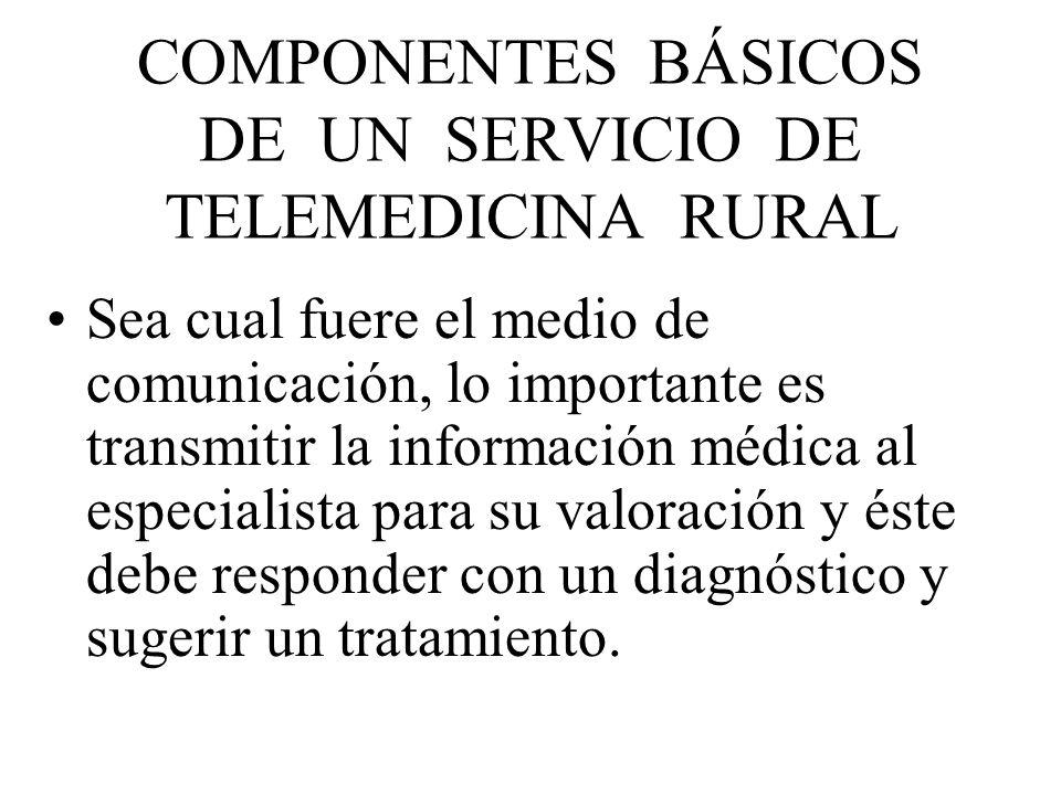 COMPONENTES BÁSICOS DE UN SERVICIO DE TELEMEDICINA RURAL Sea cual fuere el medio de comunicación, lo importante es transmitir la información médica al