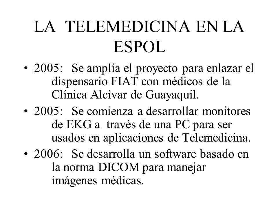 LA TELEMEDICINA EN LA ESPOL 2005: Se amplía el proyecto para enlazar el dispensario FIAT con médicos de la Clínica Alcívar de Guayaquil. 2005: Se comi