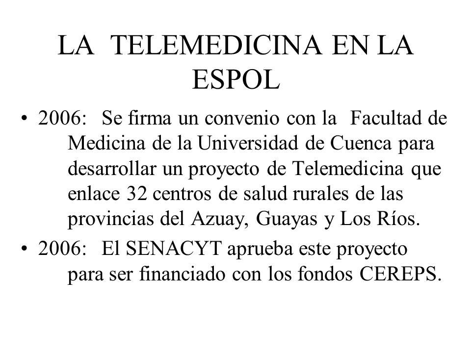 LA TELEMEDICINA EN LA ESPOL 2006: Se firma un convenio con la Facultad de Medicina de la Universidad de Cuenca para desarrollar un proyecto de Telemed