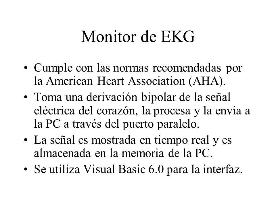 Monitor de EKG Cumple con las normas recomendadas por la American Heart Association (AHA). Toma una derivación bipolar de la señal eléctrica del coraz