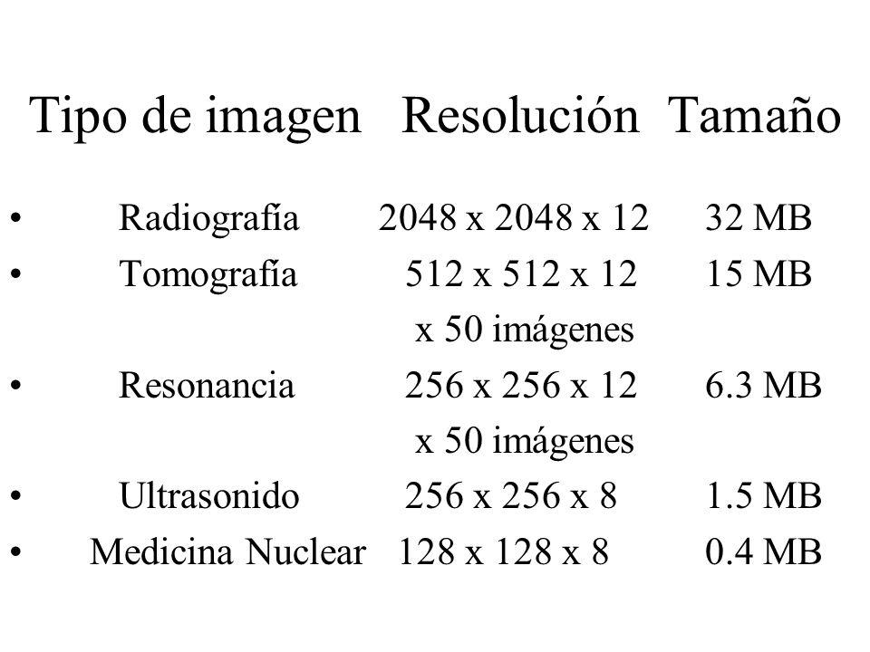 Tipo de imagen Resolución Tamaño Radiografía 2048 x 2048 x 1232 MB Tomografía 512 x 512 x 12 15 MB x 50 imágenes Resonancia 256 x 256 x 12 6.3 MB x 50