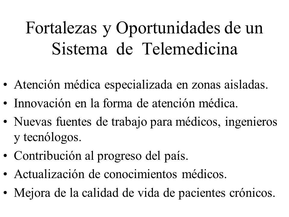 Fortalezas y Oportunidades de un Sistema de Telemedicina Atención médica especializada en zonas aisladas. Innovación en la forma de atención médica. N