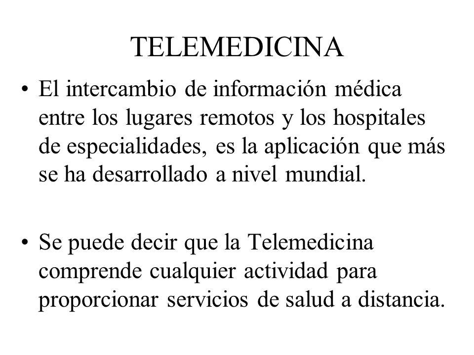 TELEMEDICINA El intercambio de información médica entre los lugares remotos y los hospitales de especialidades, es la aplicación que más se ha desarro