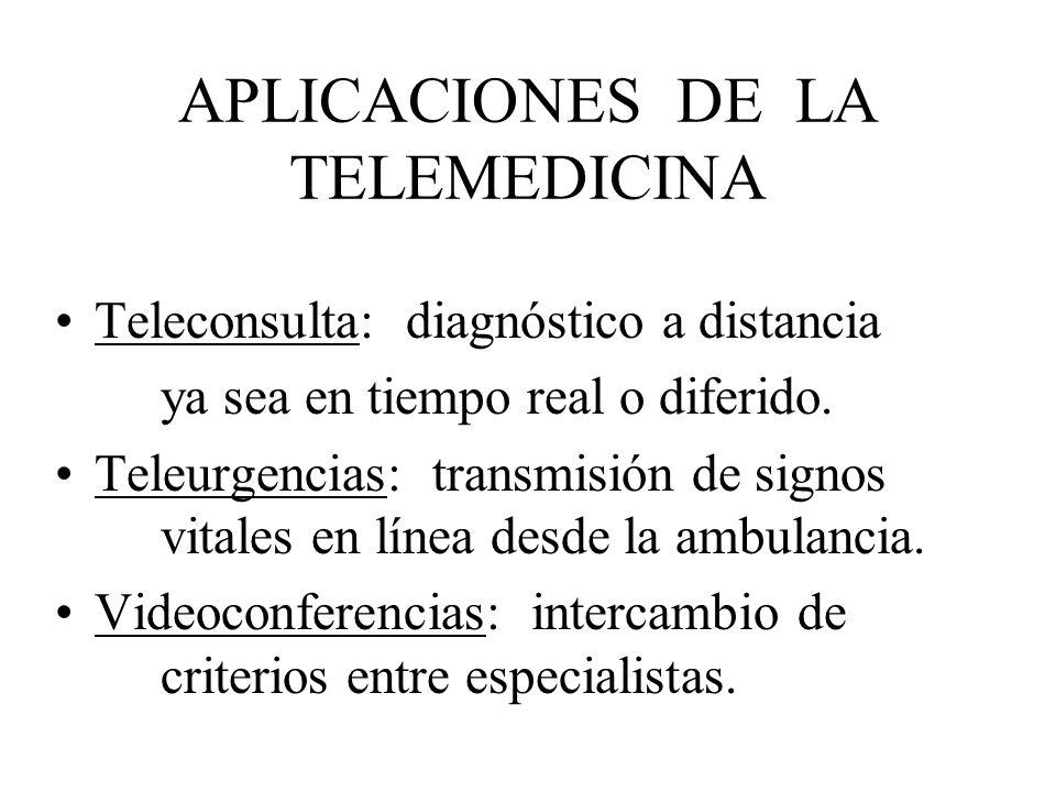 APLICACIONES DE LA TELEMEDICINA Teleconsulta: diagnóstico a distancia ya sea en tiempo real o diferido. Teleurgencias: transmisión de signos vitales e
