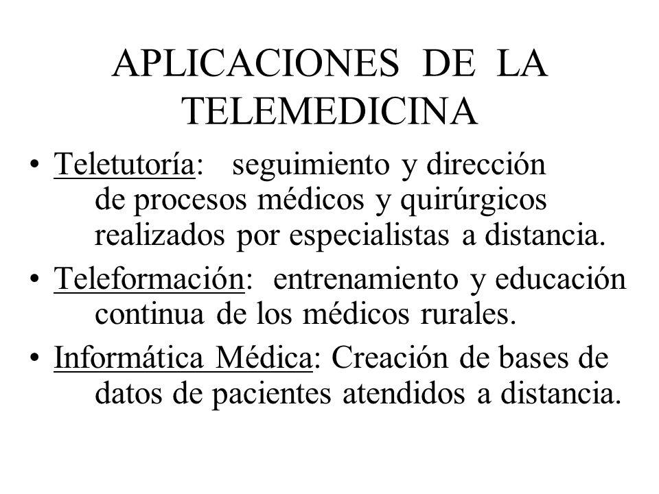 APLICACIONES DE LA TELEMEDICINA Teletutoría: seguimiento y dirección de procesos médicos y quirúrgicos realizados por especialistas a distancia. Telef