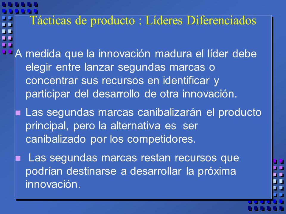 Tácticas de producto : Líderes Diferenciados A medida que la innovación madura el líder debe elegir entre lanzar segundas marcas o concentrar sus recursos en identificar y participar del desarrollo de otra innovación.