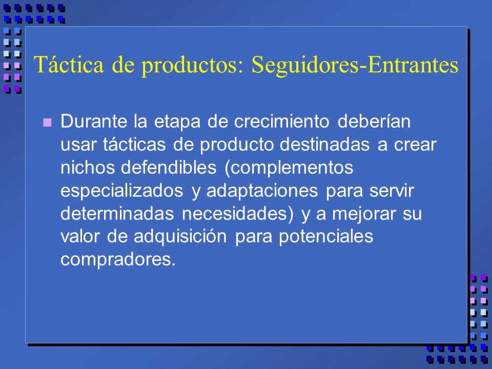 Táctica de productos: Seguidores-Entrantes n Durante la etapa de crecimiento deberían usar tácticas de producto destinadas a crear nichos defendibles (complementos especializados y adaptaciones para servir determinadas necesidades) y a mejorar su valor de adquisición para potenciales compradores.