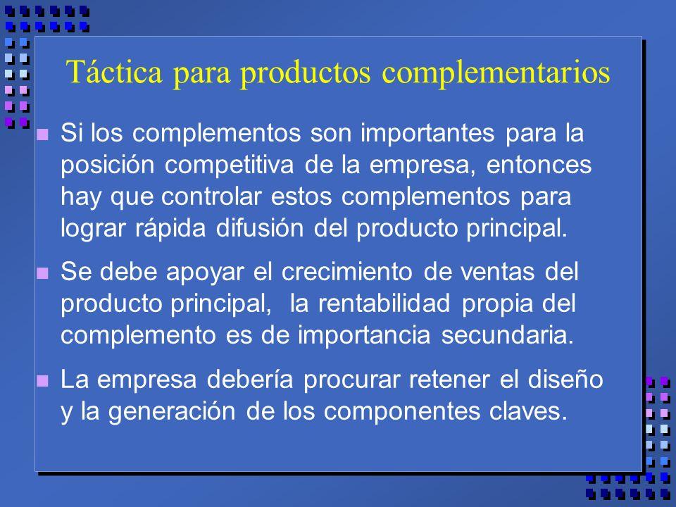 Táctica para productos complementarios n Si los complementos son importantes para la posición competitiva de la empresa, entonces hay que controlar estos complementos para lograr rápida difusión del producto principal.