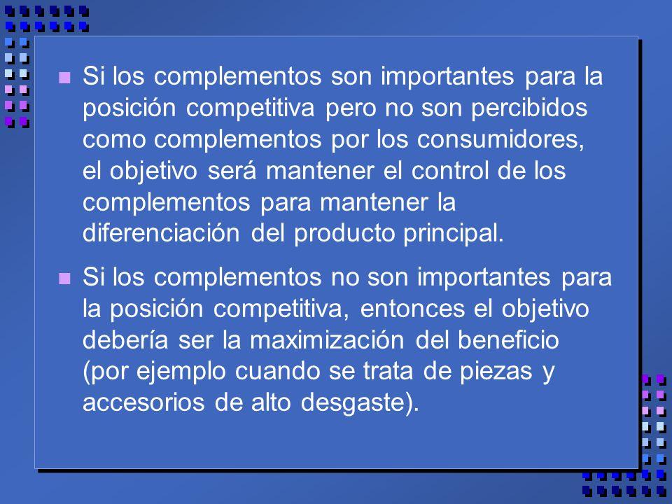 n Si los complementos son importantes para la posición competitiva pero no son percibidos como complementos por los consumidores, el objetivo será mantener el control de los complementos para mantener la diferenciación del producto principal.