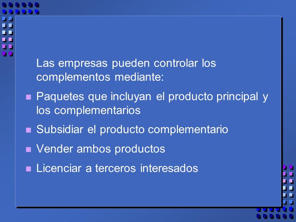 Las empresas pueden controlar los complementos mediante: n Paquetes que incluyan el producto principal y los complementarios n Subsidiar el producto complementario n Vender ambos productos n Licenciar a terceros interesados