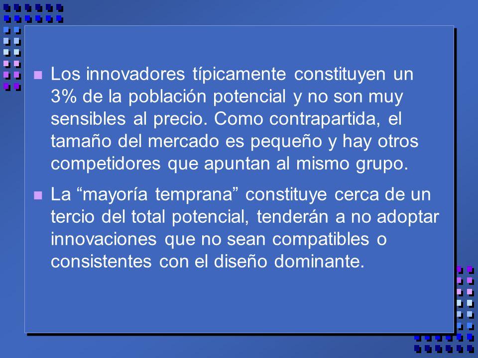 n Los innovadores típicamente constituyen un 3% de la población potencial y no son muy sensibles al precio.