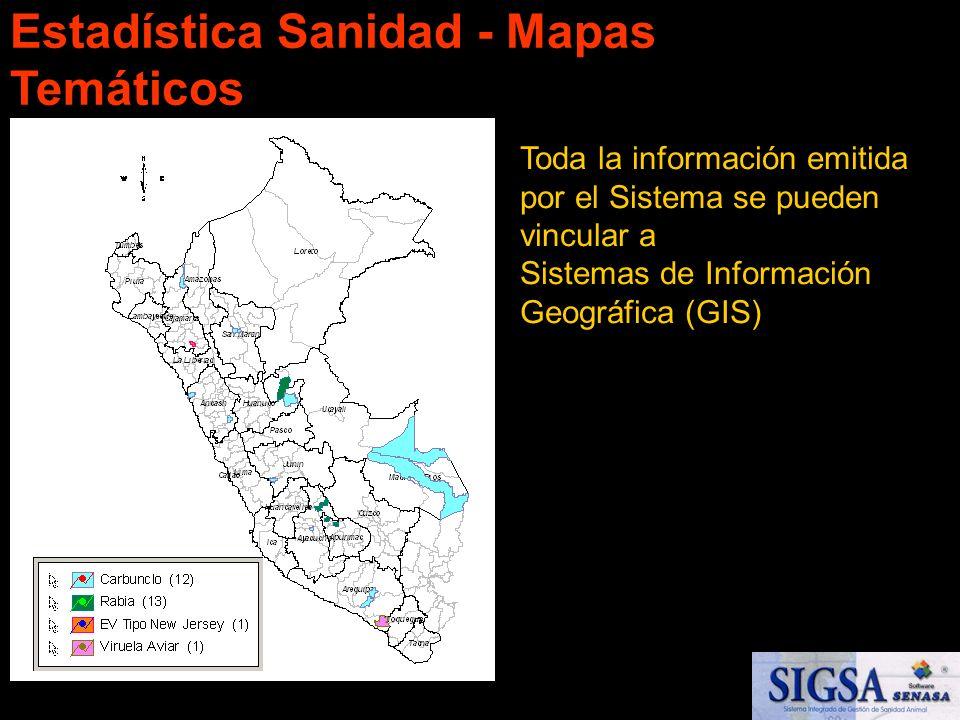 Toda la información emitida por el Sistema se pueden vincular a Sistemas de Información Geográfica (GIS) Mapas Temáticos Estadística Sanidad - Mapas T