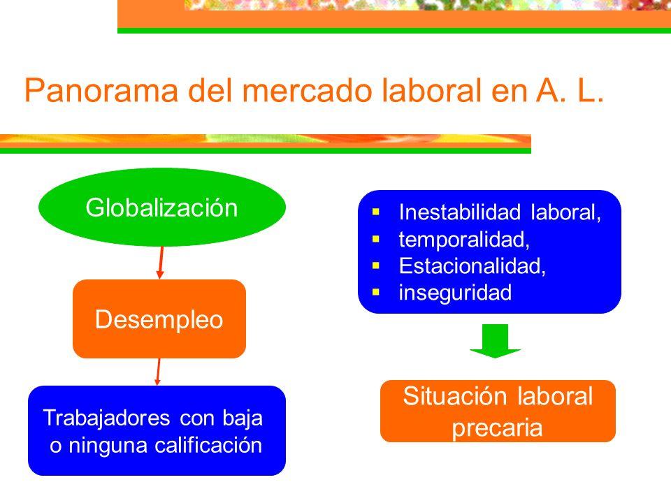 Panorama del mercado laboral en A. L. Globalización Desempleo Trabajadores con baja o ninguna calificación Inestabilidad laboral, temporalidad, Estaci