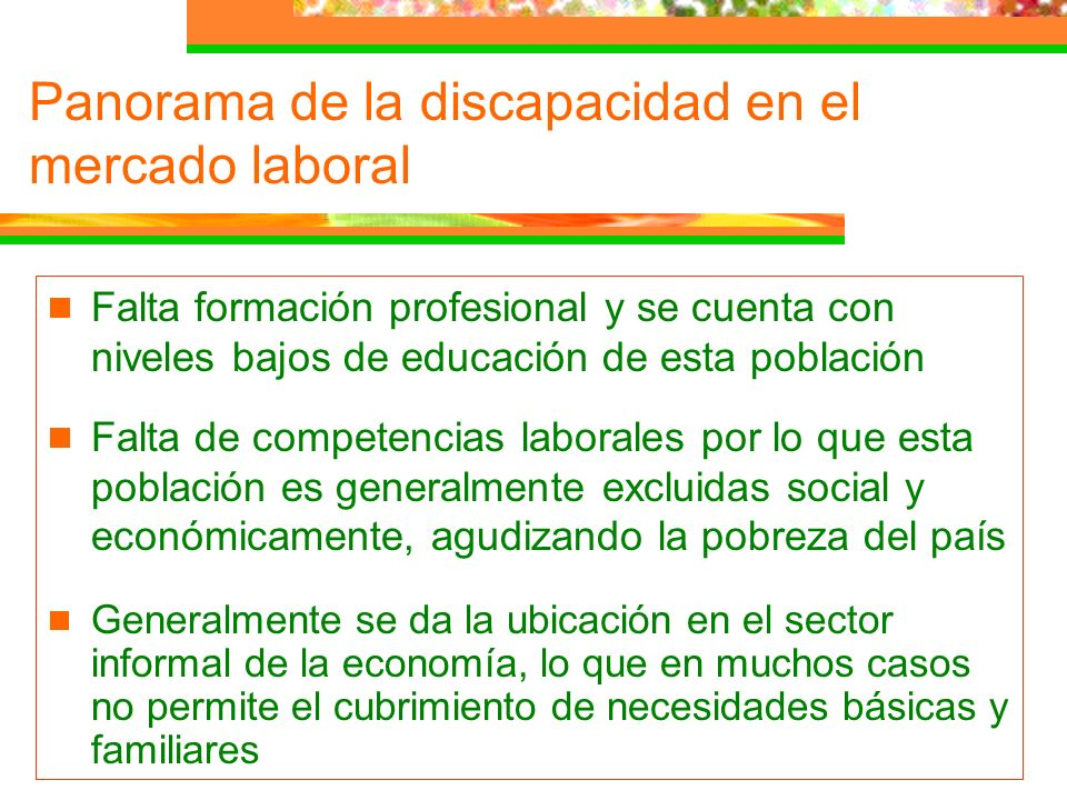 Falta formación profesional y se cuenta con niveles bajos de educación de esta población Falta de competencias laborales por lo que esta población es