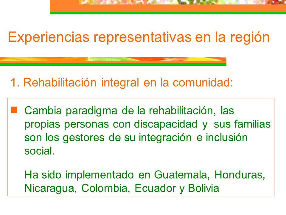 1. Rehabilitación integral en la comunidad: Cambia paradigma de la rehabilitación, las propias personas con discapacidad y sus familias son los gestor