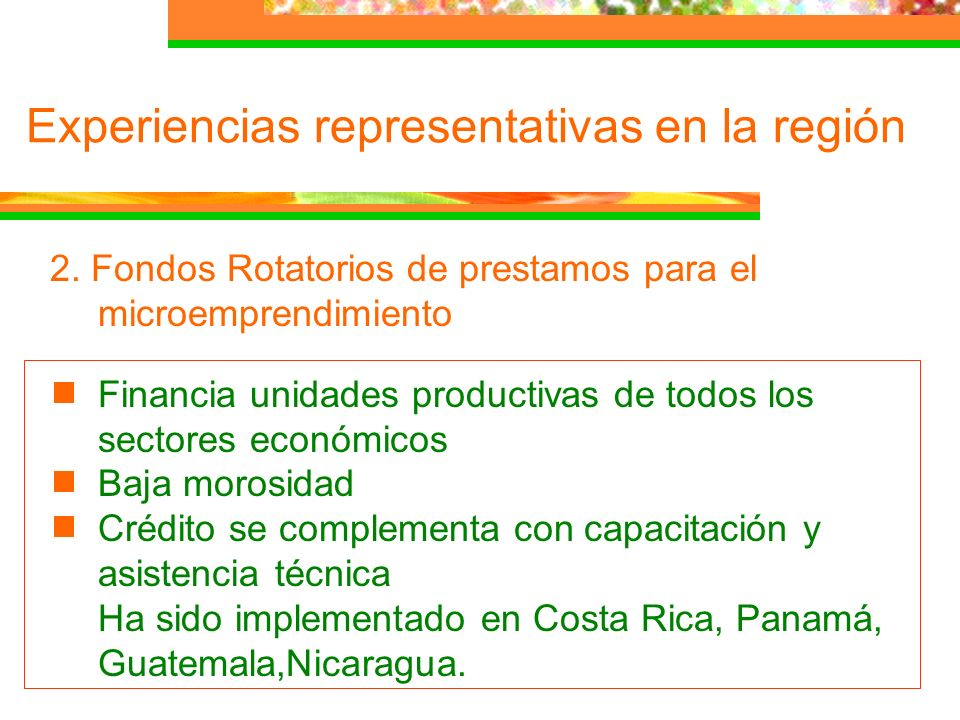 2. Fondos Rotatorios de prestamos para el microemprendimiento Financia unidades productivas de todos los sectores económicos Baja morosidad Crédito se