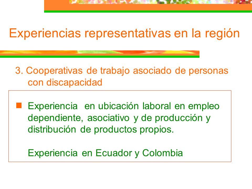 Experiencias representativas en la región 3. Cooperativas de trabajo asociado de personas con discapacidad Experiencia en ubicación laboral en empleo