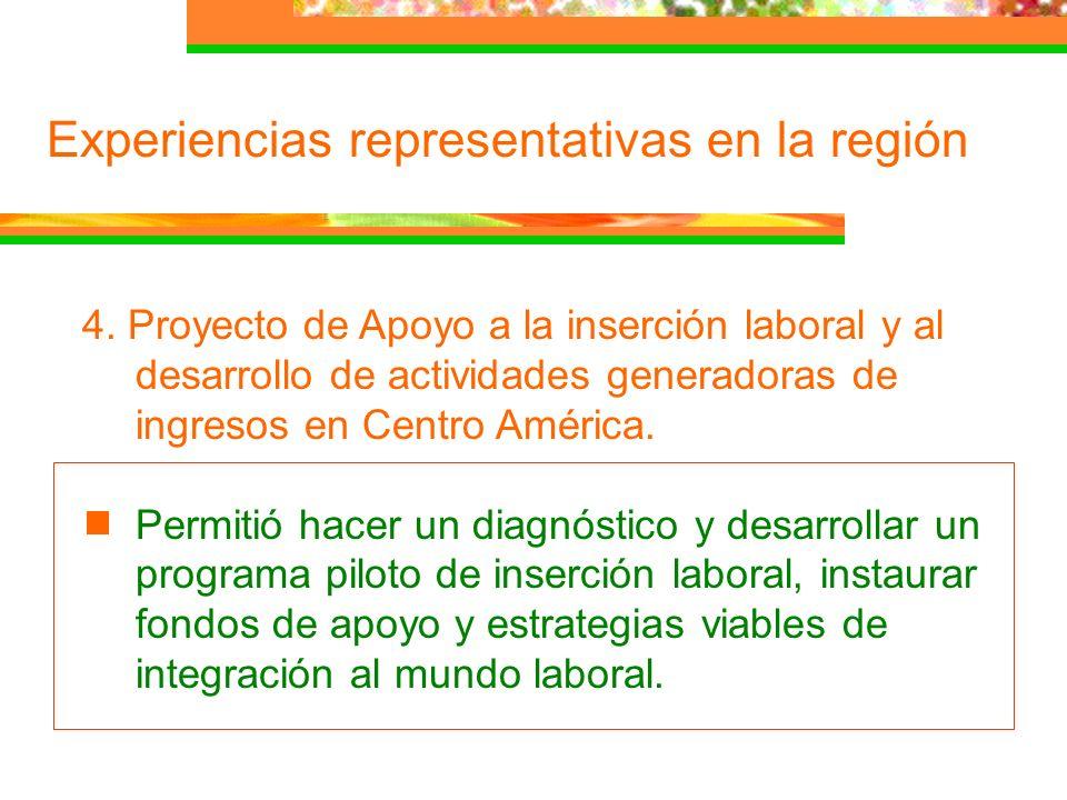 Experiencias representativas en la región 4. Proyecto de Apoyo a la inserción laboral y al desarrollo de actividades generadoras de ingresos en Centro