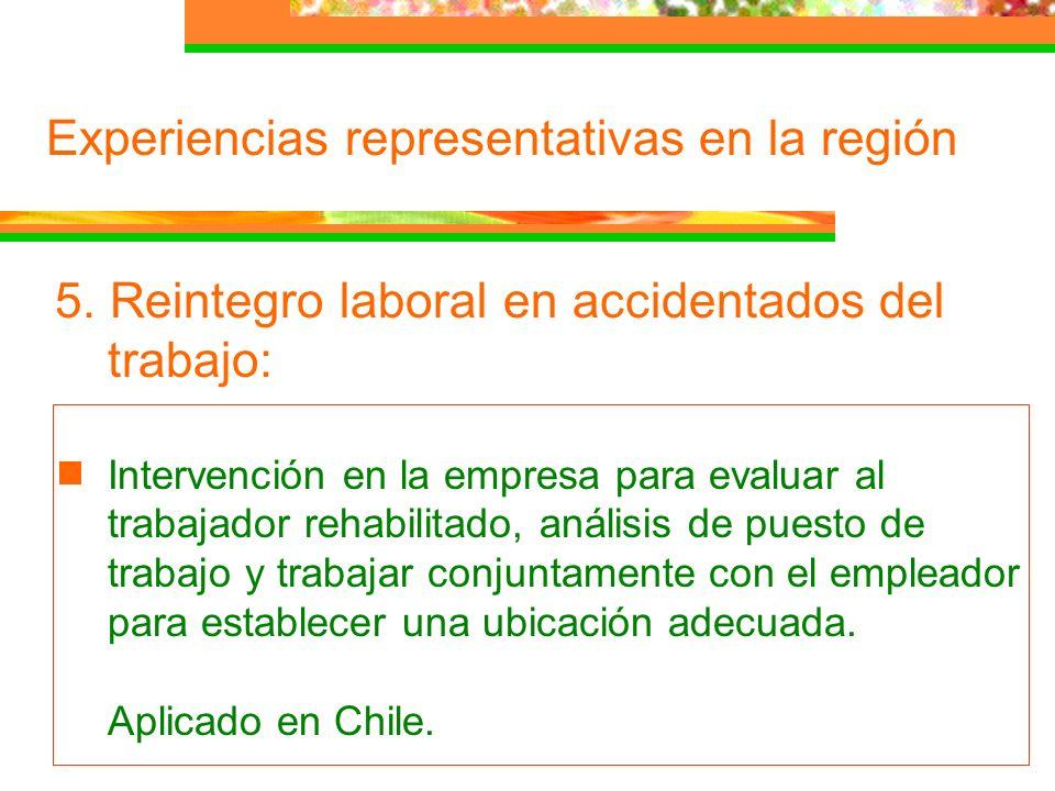Experiencias representativas en la región 5. Reintegro laboral en accidentados del trabajo: Intervención en la empresa para evaluar al trabajador reha