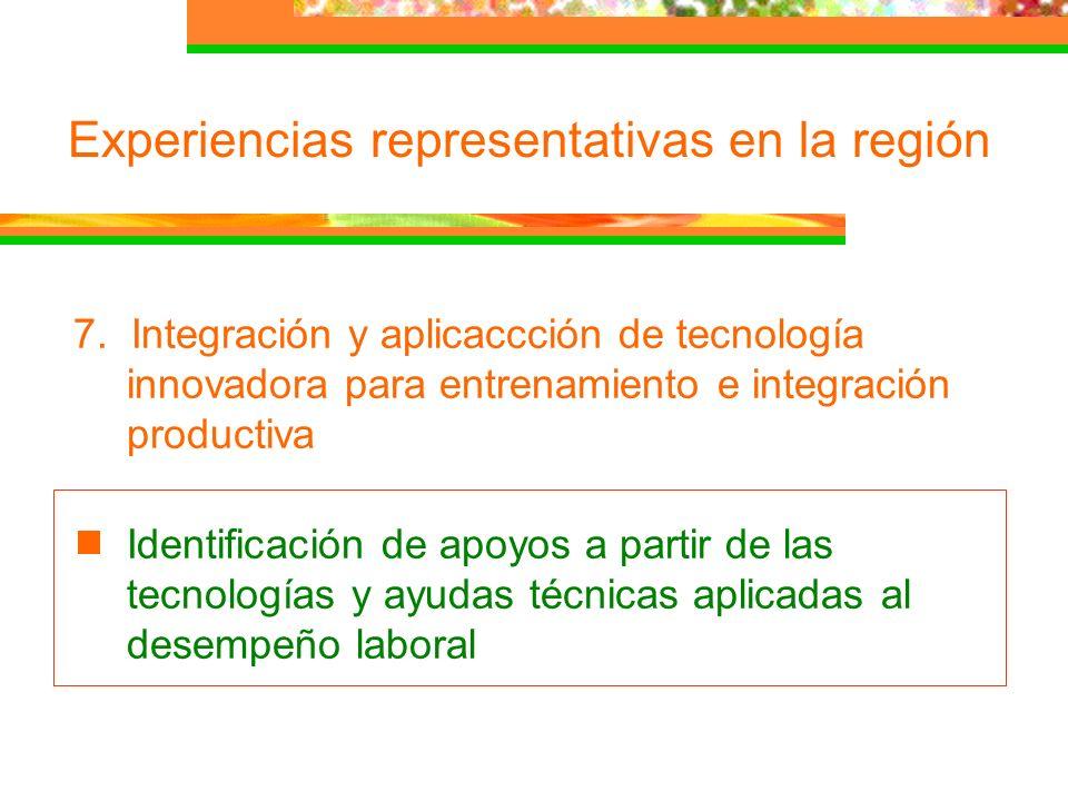 Experiencias representativas en la región 7. Integración y aplicaccción de tecnología innovadora para entrenamiento e integración productiva Identific