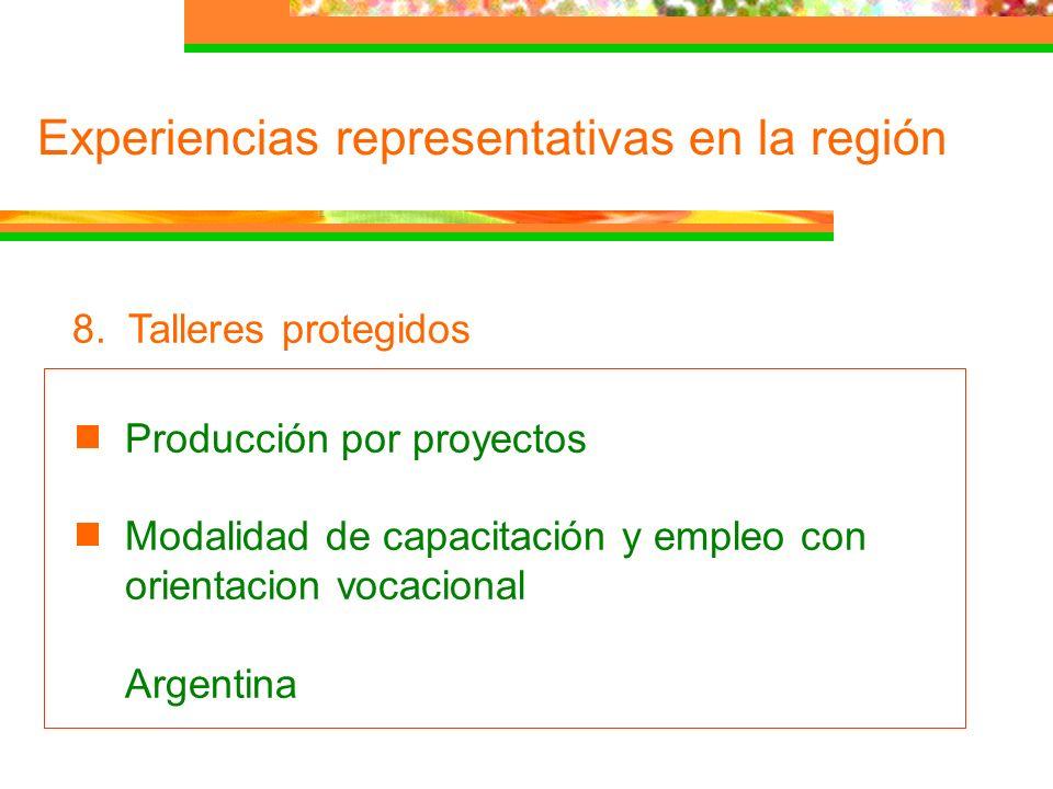 Experiencias representativas en la región 8. Talleres protegidos Producción por proyectos Modalidad de capacitación y empleo con orientacion vocaciona