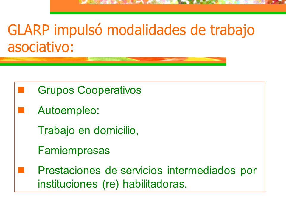GLARP impulsó modalidades de trabajo asociativo: Grupos Cooperativos Autoempleo: Trabajo en domicilio, Famiempresas Prestaciones de servicios intermed