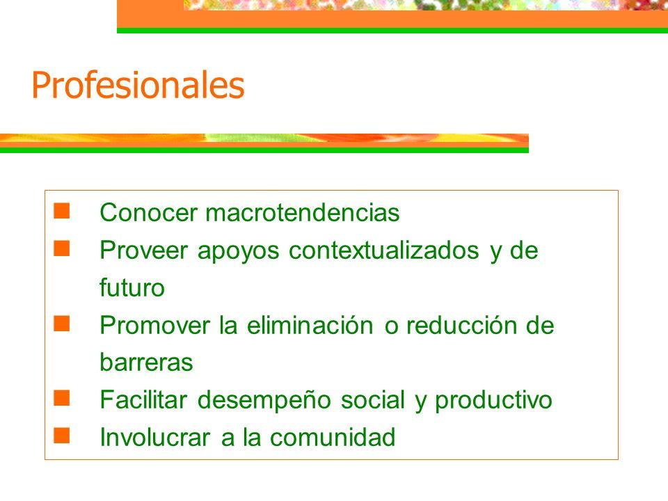 Conocer macrotendencias Proveer apoyos contextualizados y de futuro Promover la eliminación o reducción de barreras Facilitar desempeño social y produ