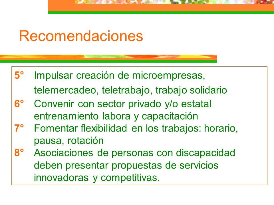 Recomendaciones 5°Impulsar creación de microempresas, telemercadeo, teletrabajo, trabajo solidario 6°Convenir con sector privado y/o estatal entrenami