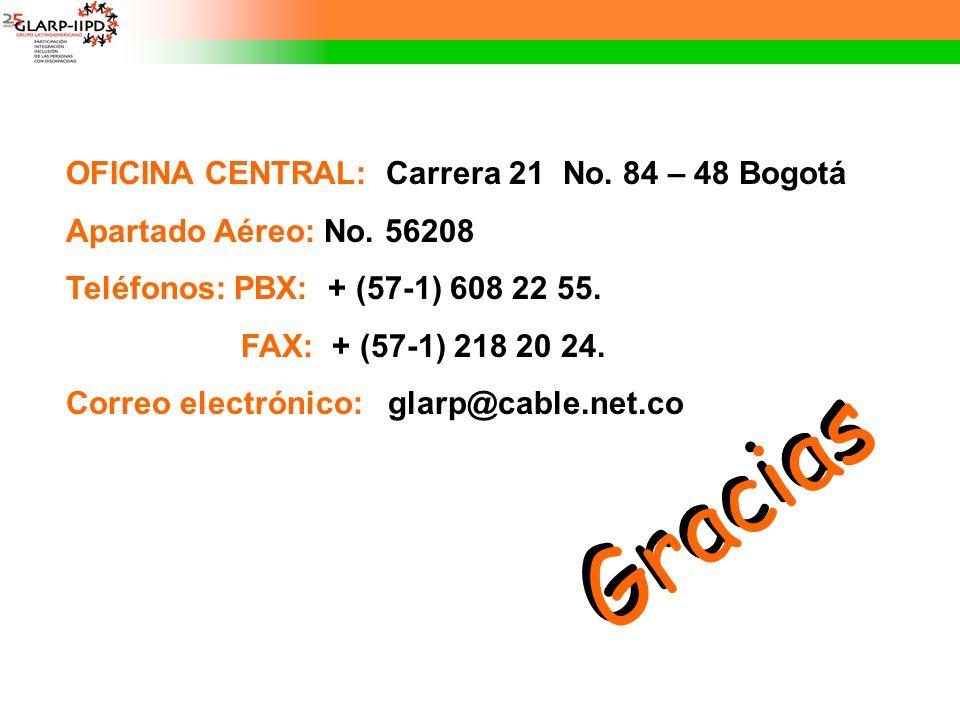 Gracias OFICINA CENTRAL: Carrera 21 No. 84 – 48 Bogotá Apartado Aéreo: No. 56208 Teléfonos: PBX: + (57-1) 608 22 55. FAX: + (57-1) 218 20 24. Correo e