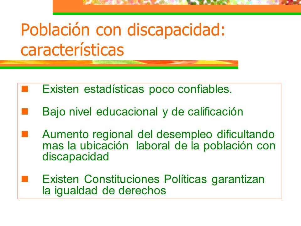 Población con discapacidad: características Existen estadísticas poco confiables. Bajo nivel educacional y de calificación Aumento regional del desemp