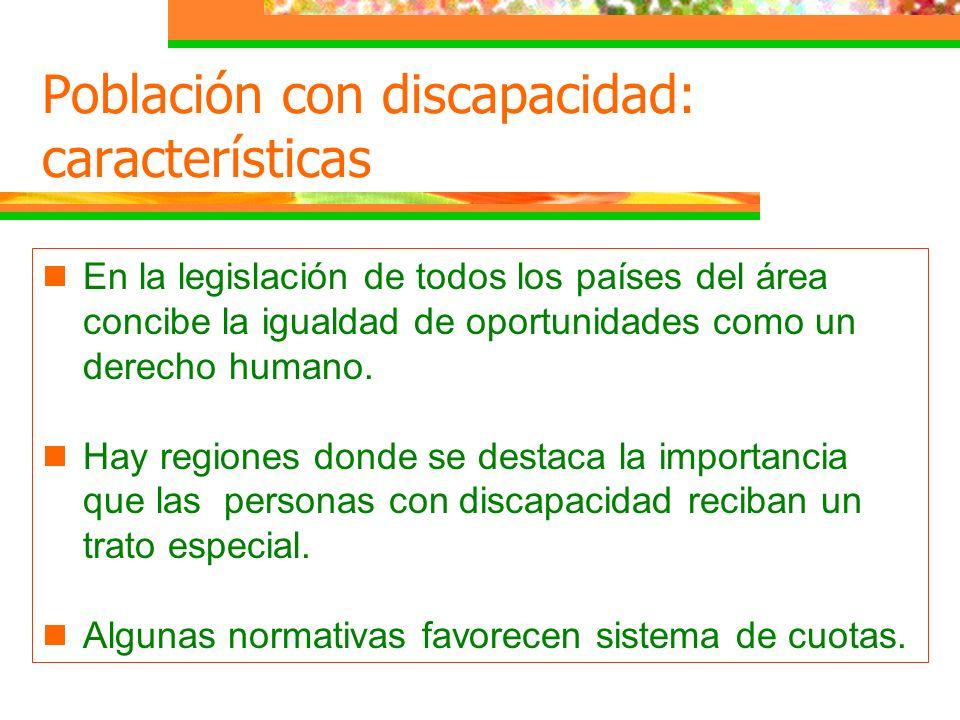 En la legislación de todos los países del área concibe la igualdad de oportunidades como un derecho humano. Hay regiones donde se destaca la importanc