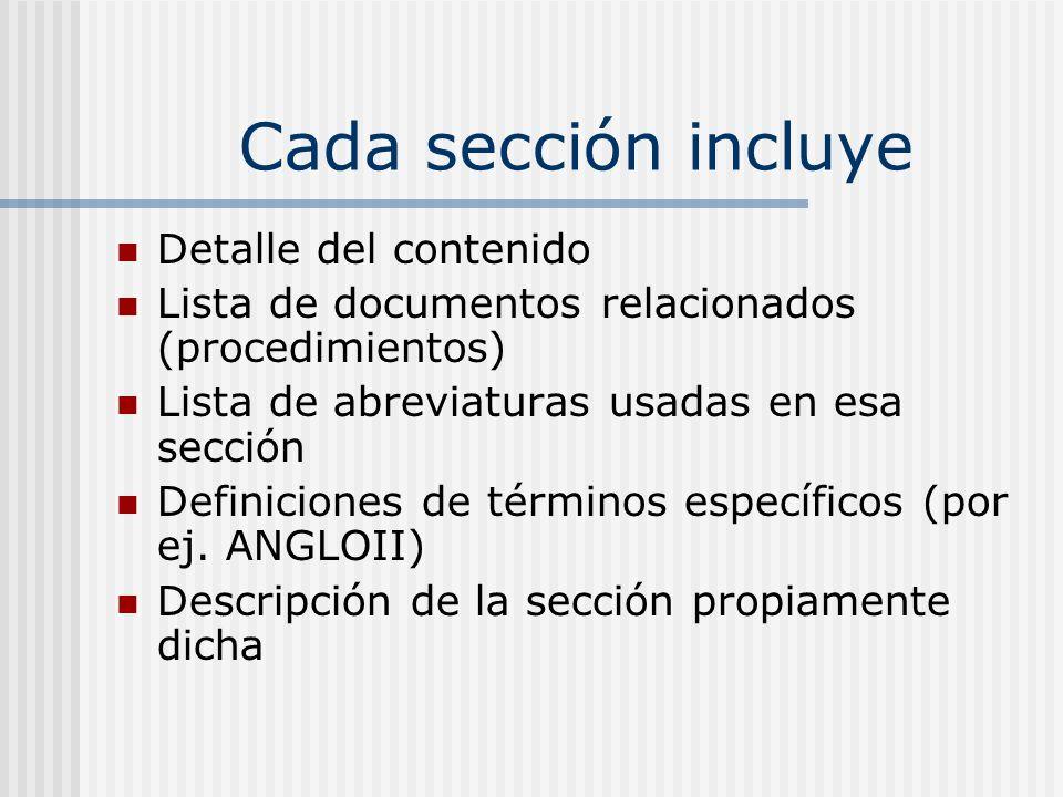 Cada sección incluye Detalle del contenido Lista de documentos relacionados (procedimientos) Lista de abreviaturas usadas en esa sección Definiciones