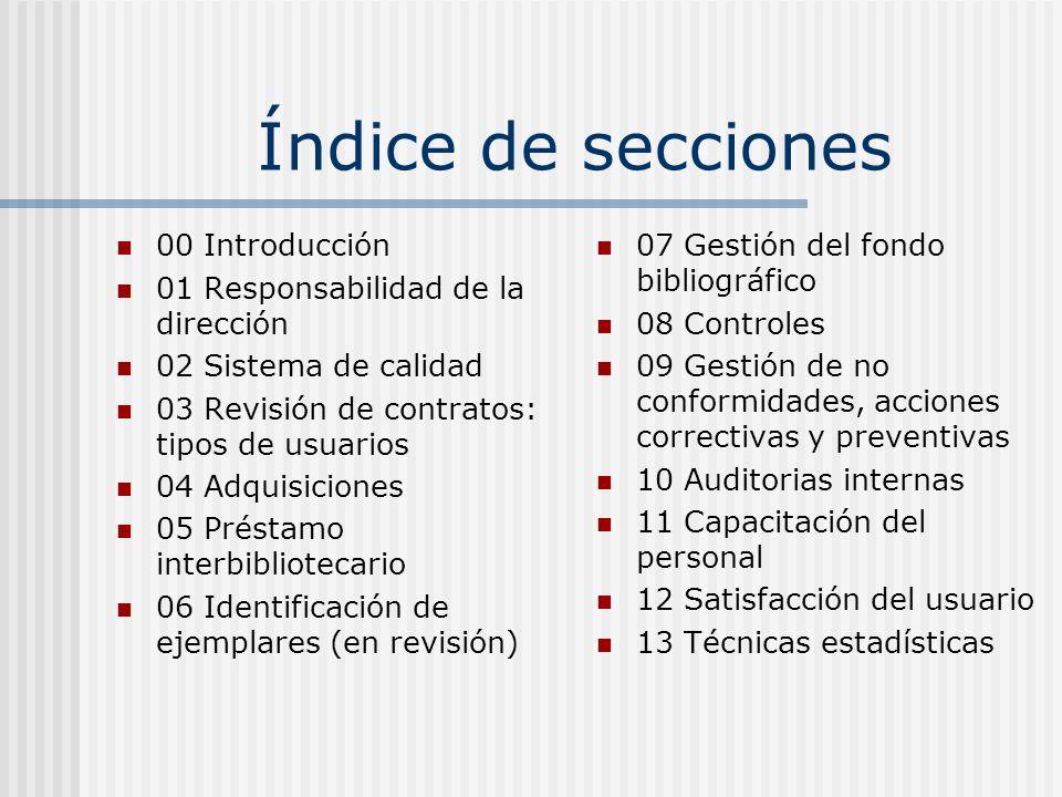 Índice de secciones 00 Introducción 01 Responsabilidad de la dirección 02 Sistema de calidad 03 Revisión de contratos: tipos de usuarios 04 Adquisicio