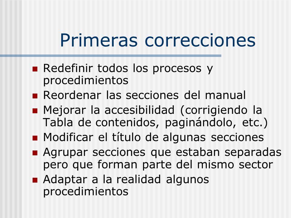 Primeras correcciones Redefinir todos los procesos y procedimientos Reordenar las secciones del manual Mejorar la accesibilidad (corrigiendo la Tabla