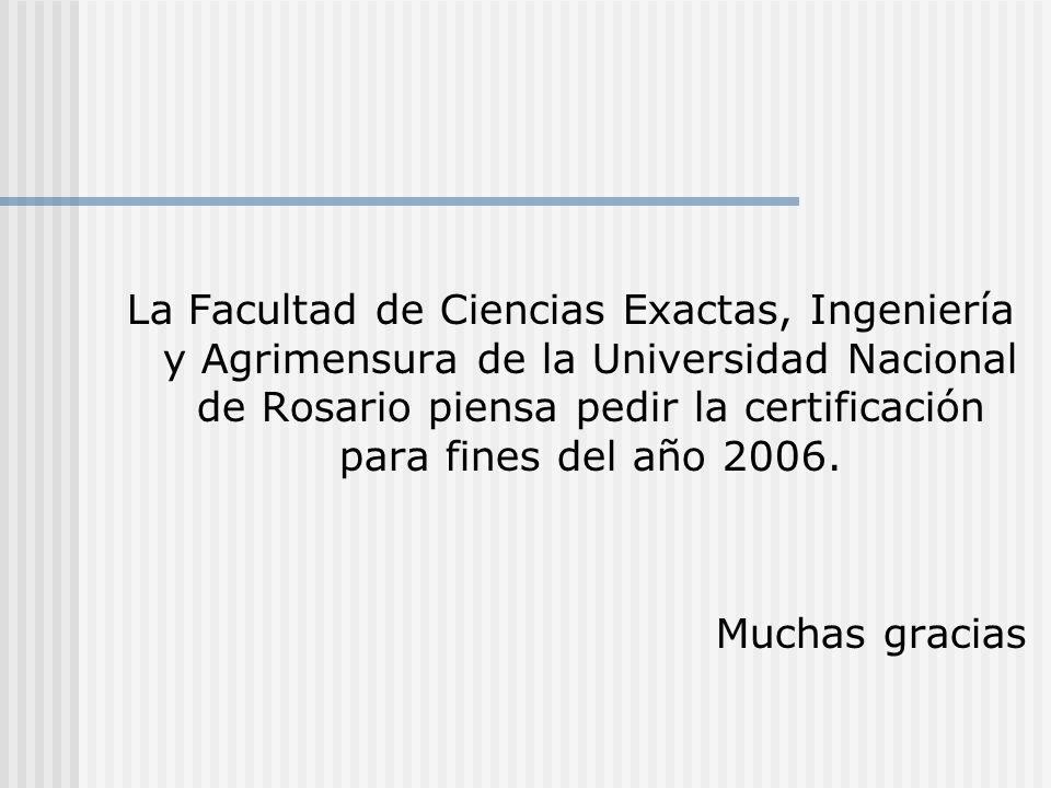 La Facultad de Ciencias Exactas, Ingeniería y Agrimensura de la Universidad Nacional de Rosario piensa pedir la certificación para fines del año 2006.