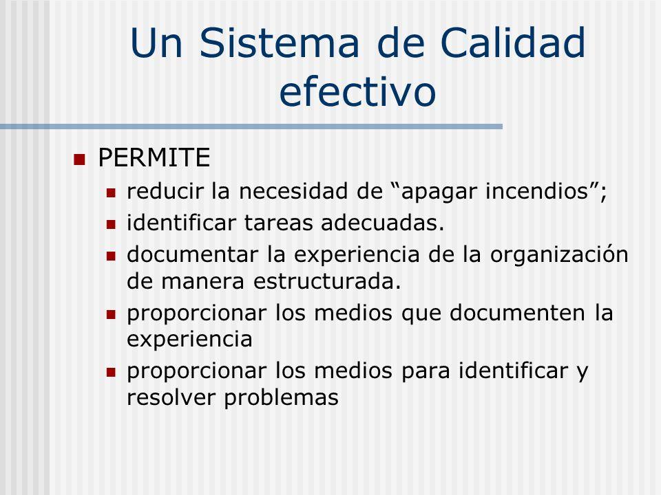 Un Sistema de Calidad efectivo PERMITE reducir la necesidad de apagar incendios; identificar tareas adecuadas. documentar la experiencia de la organiz