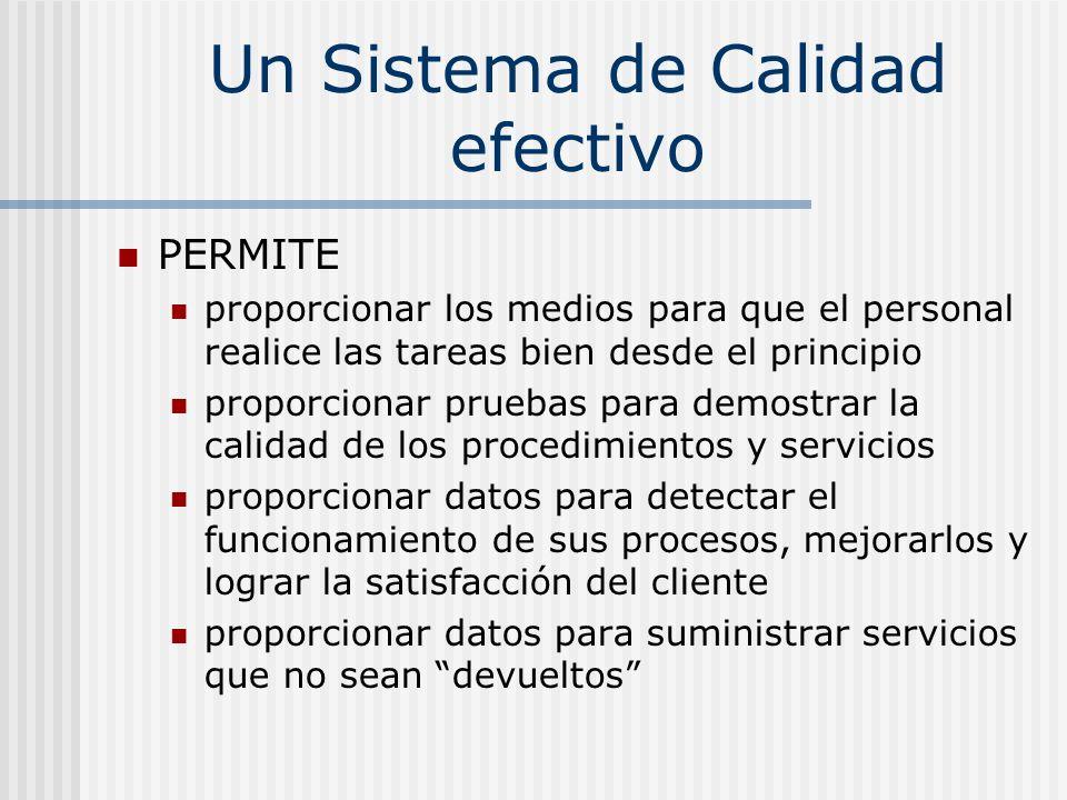 Un Sistema de Calidad efectivo PERMITE proporcionar los medios para que el personal realice las tareas bien desde el principio proporcionar pruebas pa