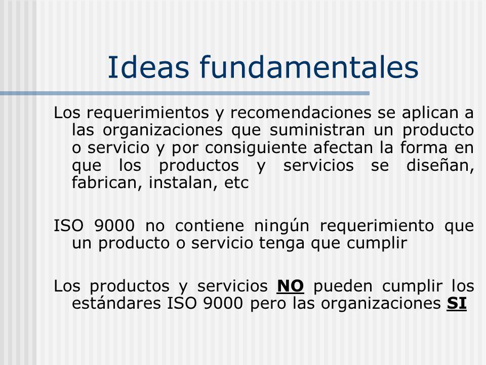 Ideas fundamentales Los requerimientos y recomendaciones se aplican a las organizaciones que suministran un producto o servicio y por consiguiente afe