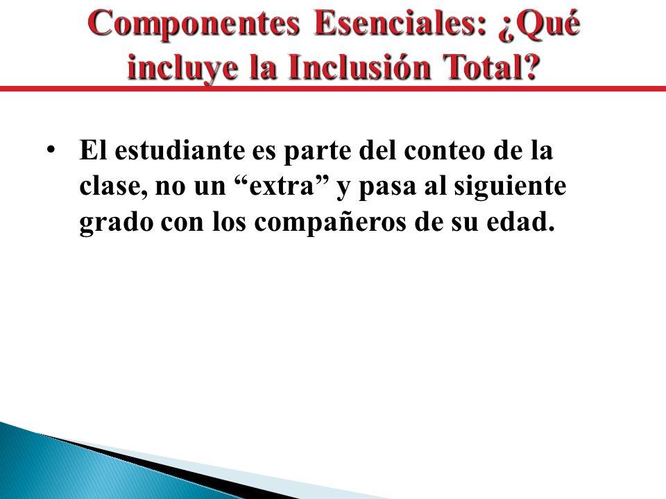El estudiante es parte del conteo de la clase, no un extra y pasa al siguiente grado con los compañeros de su edad.