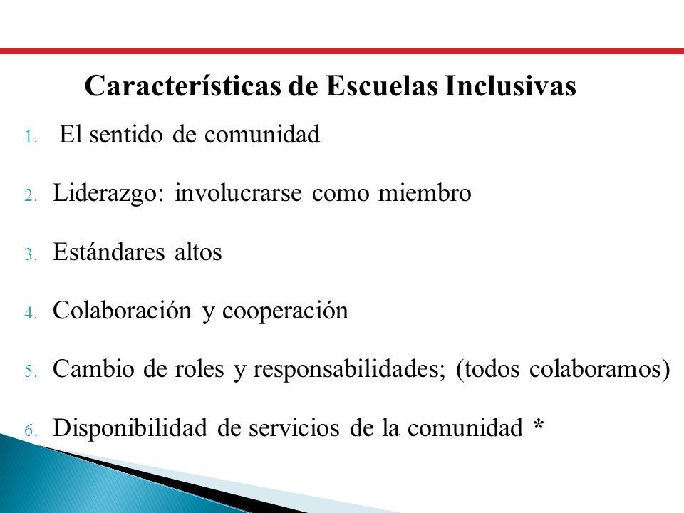 1. El sentido de comunidad 2. Liderazgo: involucrarse como miembro 3. Estándares altos 4. Colaboración y cooperación 5. Cambio de roles y responsabili