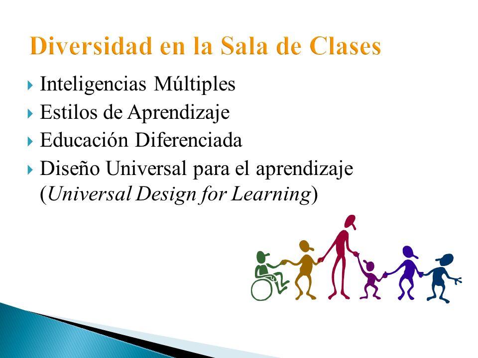 Inteligencias Múltiples Estilos de Aprendizaje Educación Diferenciada Diseño Universal para el aprendizaje (Universal Design for Learning)