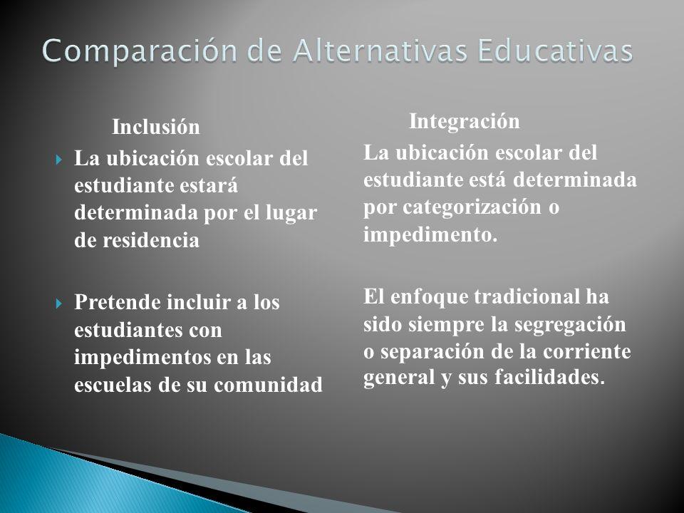 Inclusión La ubicación escolar del estudiante estará determinada por el lugar de residencia Pretende incluir a los estudiantes con impedimentos en las