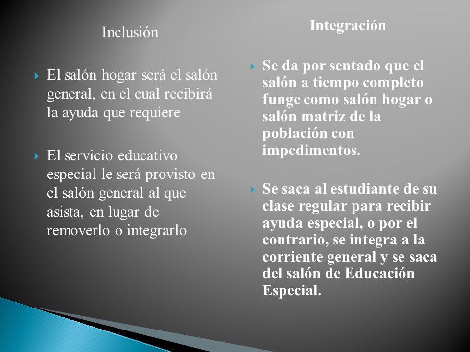 Inclusión El salón hogar será el salón general, en el cual recibirá la ayuda que requiere El servicio educativo especial le será provisto en el salón