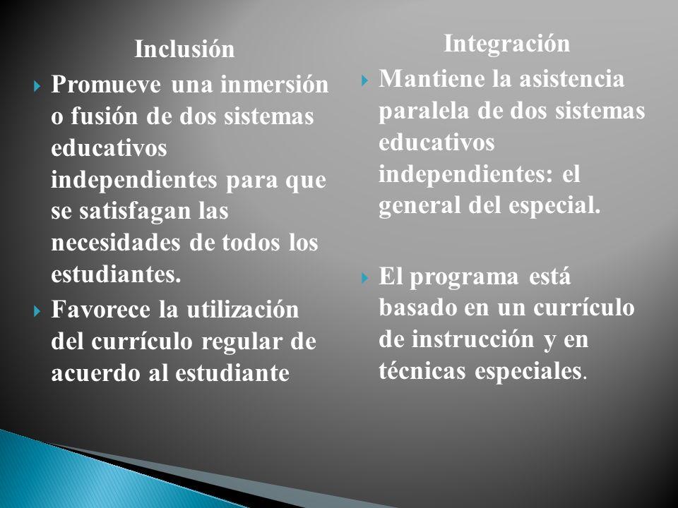 Inclusión Promueve una inmersión o fusión de dos sistemas educativos independientes para que se satisfagan las necesidades de todos los estudiantes. F