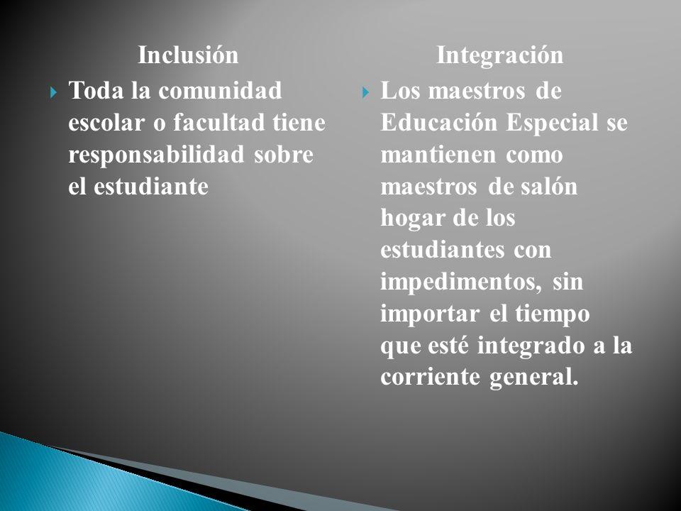 Inclusión Toda la comunidad escolar o facultad tiene responsabilidad sobre el estudiante Integración Los maestros de Educación Especial se mantienen c